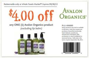 WF Avalon Organics coupon